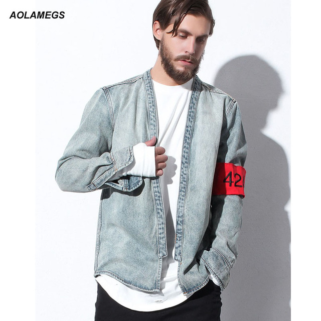 Aolamegs Kimono Jacket Men Japanese Clothes 424 Fashion Vintage Design Harajuku Casual Denim Outwear Kanye West Kimonos Shirts