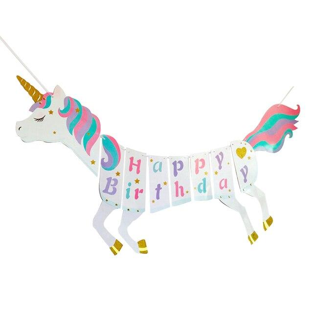 Decoraciones de fiesta de unicornio Bandera de feliz cumpleaños decoraciones de fiesta de cumpleaños niños Baby Shower evento festivo suministros de fiesta