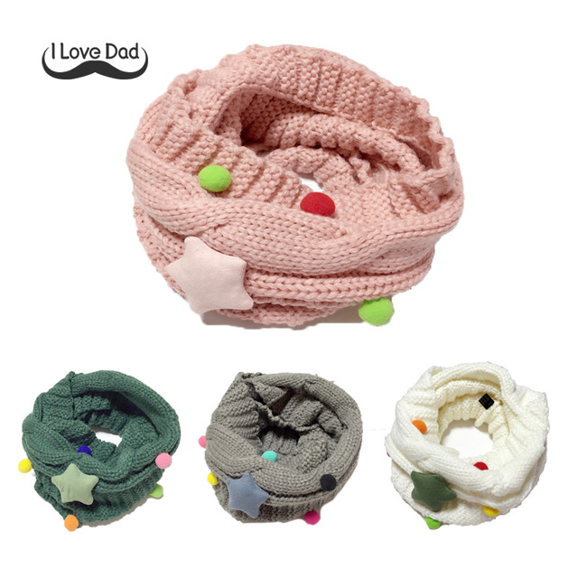 Winter Knitted Star Ball Baby Scarf Pompom Crochet Girls Scarves Winter Warm Bib O-ring Neck Warmer Kids Bibs