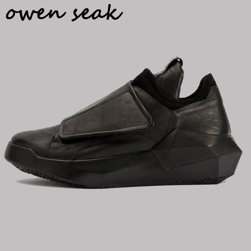 Owen Seak New Men Casual Shoes Genuine Leather Height Increasing Luxury Trainers Sneaker Basic Boots Flats