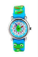 TOP Qualité Montre étanche Enfants grenouille Montres 2016 Enfants de dessin animé 3D Montre-Bracelet Analogique Bande de silicone