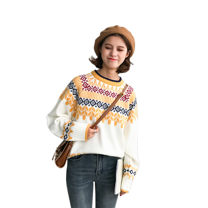 Christmas Carnival Sweater Women O Neck Long Sleeve Knitted Diamond Pattern Printed Pullover Preppy Chic Retro Totems Sweaters