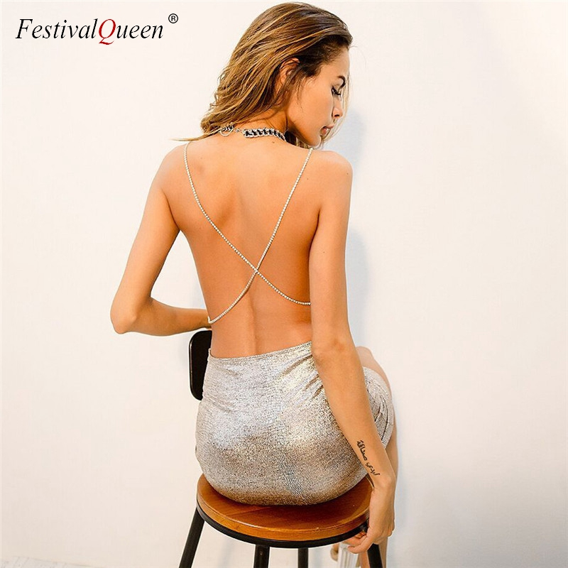 FestivalQueen women sexy metal silver mini dress summer back across chain backless nightclub party shiny bodycon slim dresses