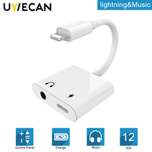 2 in 1 Adapter For Lightning to Audio Charging Port With 3.5 mm Headphone Aux Jack converter For iPhone X/XS/8/6/6S/7P/8P/7/iOS аксессуар hoco ls11 2 in 1 lightning digital audio converter white