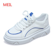 Spring New sneakers casual Shoes Women Flats Platform Shoes Leather Female Fashion Classic ladies White Canvas Shoes Increased цена и фото