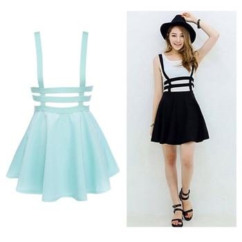Retro Hollow Mini Skater Cute Women Suspender Clothes Straps High Waist Skirt Skirts