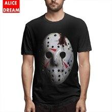 Halloween hockey mask T Shirt Mens Friday The 13th Quality Retro Stylish Short Sleeve O-neck S-6XL Big Size Homme Tee
