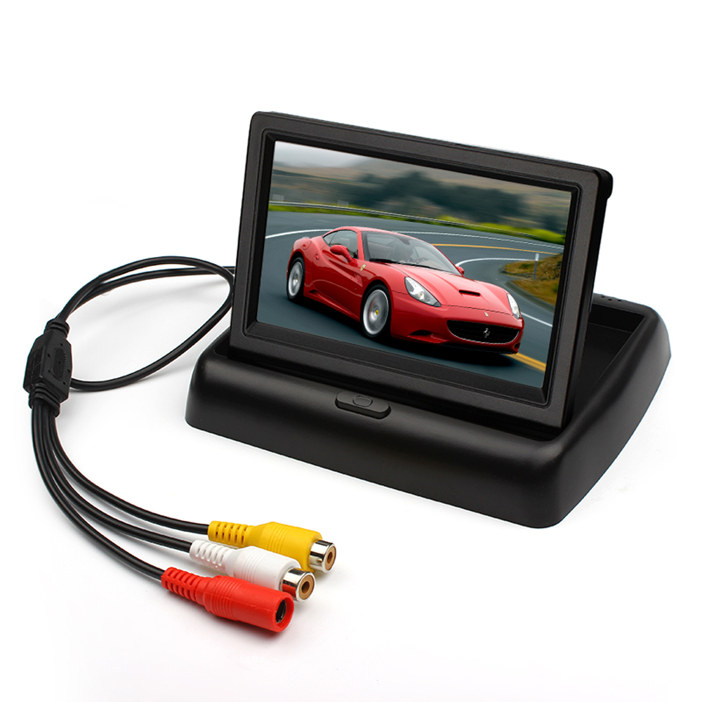 4.3 inch Folding TFT LCD Monitor Car Rear View Color System 2-Channel Video Input Free Shipping