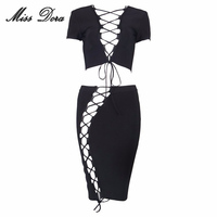 Sexy Black Red Lace Up Short Sleeve Bandage 2 Two Piece Set 2016 Winter Runway Dress