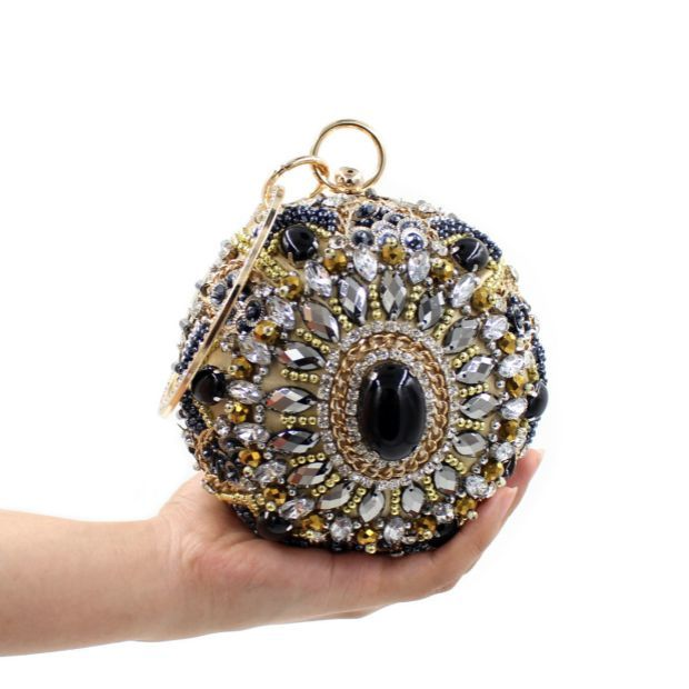2016 Top New Single Hasp Chains Heavy Beaded Hand Bag Clutch Handbag Yanbao Spherical Ball Collocation Package Personalized