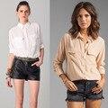 Новое Оборудование 100% натурального шелка женщины с длинным рукавом дамы два кармана основные свободные блузки весна осень