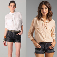 New EQ 100% real silk women long sleeve shirts ladies two pockets basic loose blouses spring autumn