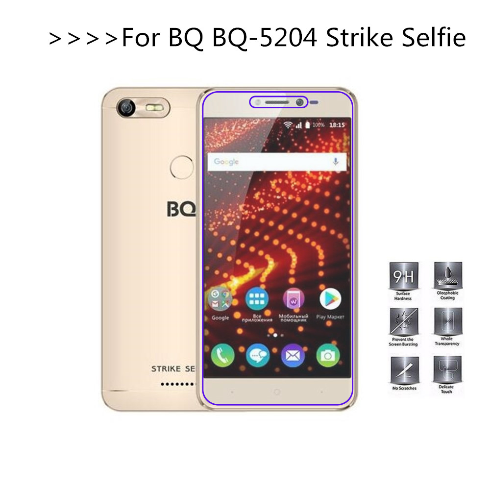 For BQ BQ-5204 Strike Selfie Tempered Glass 2.5D 9H Protective Film Explosion-proof LCD Screen Protector For BQ 5204
