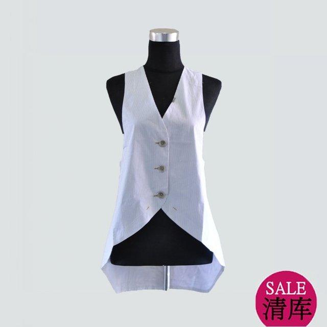 Fashion Cop.Copine spring and summer white pinstripe vest 122625 (NEW)