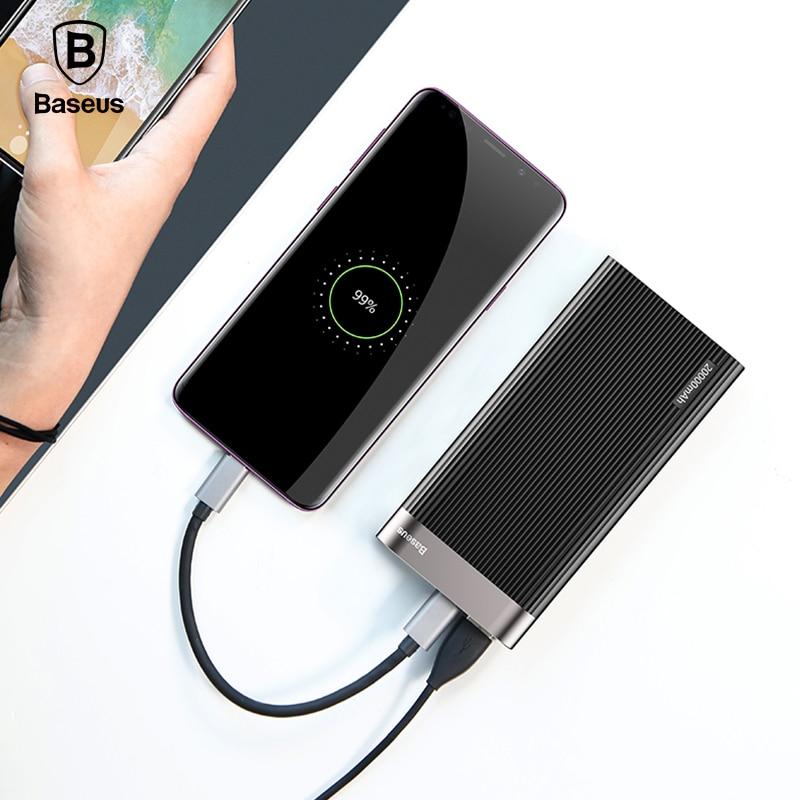 Baseus 20000 mah Puissance Banque D'affichage À LED Charge Rapide 3.0 Double USB Type-C PD Sortie Rapide De Charge Externe batterie Pack Powerbank