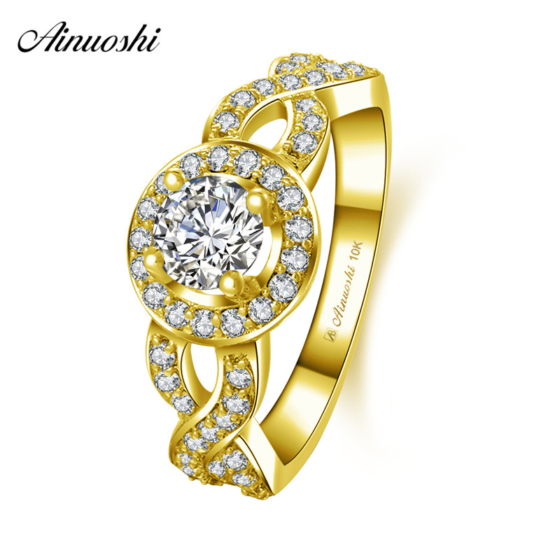 AINUOSHI 10k Solid Yellow Gold Woman Wedding Halo Ring Twisted CZ 0.5ct Round Cut Sparkling Weaving Ring Lady Engagement Jewelry