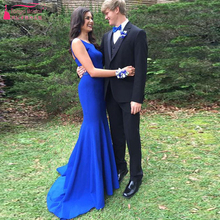 Royal Blue Simple Mermaid Prom Dresses Chiffon O-Neck Backless Elegant Evening Dresses Cheap Dresses For Bridesmaid dress Z1045