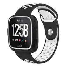 Silicone Bands Compatible Fitbit Versa Lite and Versa,with Protective Case Two-Color Perforation Breathable Strap