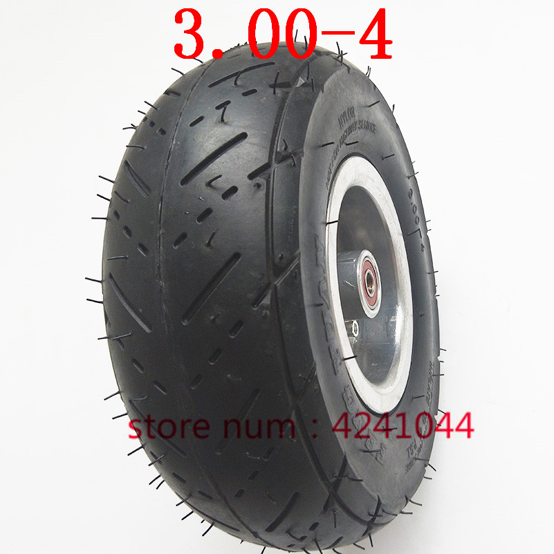 3.00-4 Tire Wheel 10 Inch Tyre And Inner Tube +4  Inch Alloy Rims Hub For Electric Scooter Gas Scooter Bike Motorcycle