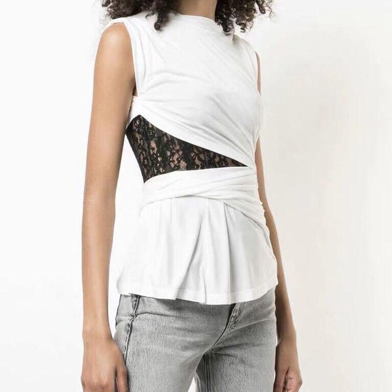Mode été nouveau bustier tubulaire dentelle noire Slim couture blanc T-shirt faux deux pièces taille creuse irrégulière femmes chemises