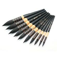 27RQ серии Fine белка волосы короткие деревянной ручкой акварель кисти Книги по искусству Краски Staming