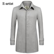 E-artist Men's Casual Single Breasted Long Trench Coats Male Slim Fit Jackets Windbreaker Outwear Overcoat Plus Size 5XL F09