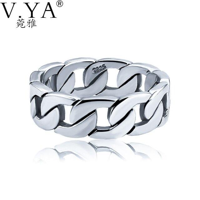V. YA 100% 925 Sterling Silver Ring Anello Punk della Catena del Ciclo Dito anelli per Gli Uomini Gioielli Big Size Paio Anello Uomini Gioielli
