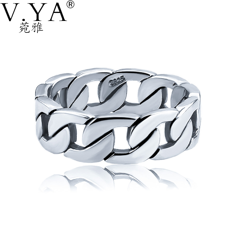 V.YA 100% 925 Sterling Silver Ring Punk Ring Cycle Chain Finger Rings for Men Fine Jewelry Big Size Couple Ring Men Jewelry equte rssm35c2s11 316l titanium steel finger ring for men black silver us size 11