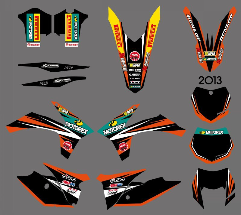 0608   NEW STYLE TEAM  GRAPHICS WITH MATCHING BACKGROUNDS  FOR KTM 125/200/250/300/350/450/500 EXC 2012-2013 XC 2011  0584 new team graphics with matching backgrounds for ktm 125 200 250 300 450 500 exc xc w xcf w six days 2014 2015 2016