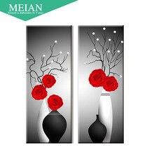 Meian, особой формы, Алмазный Вышивка, красный цветочный, Росс, 5D, Алмазный живопись, вышивка крестом, 3D, Алмазная мозаика, украшения, Новогодние товары