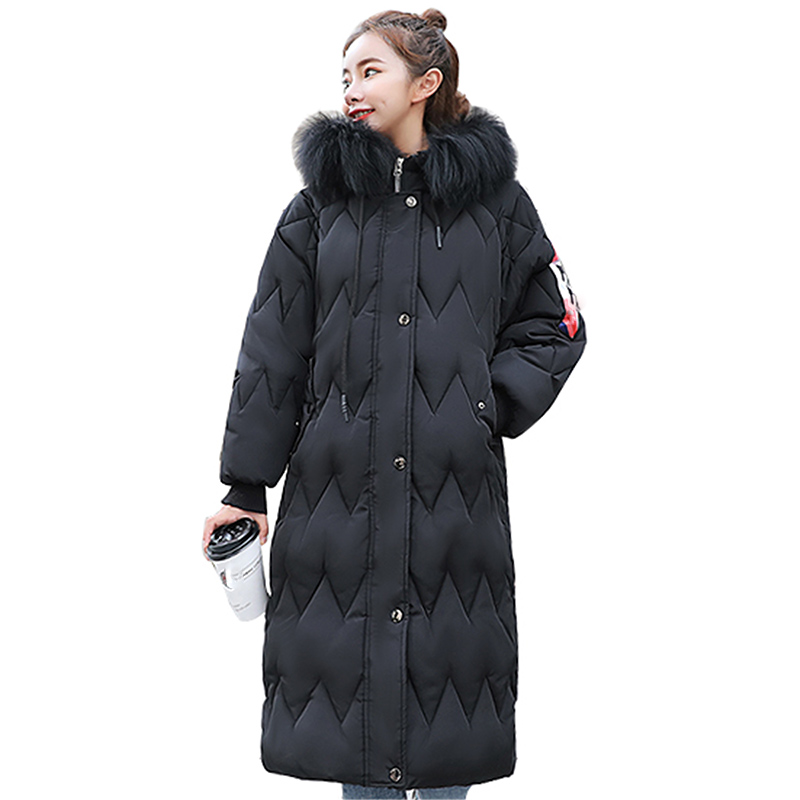 Big fur winter coat thickened parka women slim long winter coat down cotton ladies down parka down jacket women Plus Size jacket