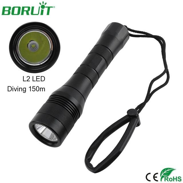BORUiT Профессиональный XM-L2 светодиодный фонарик для дайвинга подводный 150 м фонарь IP68 водонепроницаемый портативный Кемпинг Охота лампа