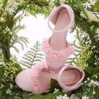 New Spring Children high heel flower Silk Shoes High end dress princess shoes Little Girls Wedding Party Shoes Kids Performance