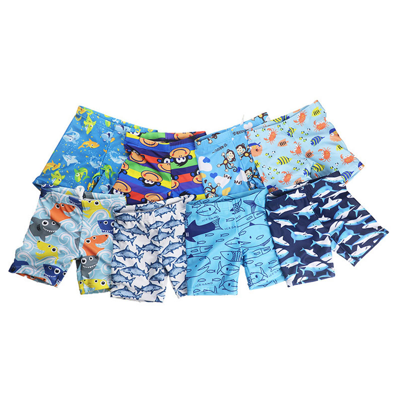 Boys Beach Shorts Kids Swimming Trunks Children Boys Shark Print Stretch Beach Swimsuit Swimwear Pants Shorts Bathing Clothes