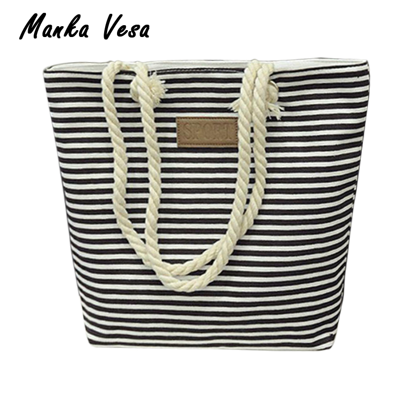 Manka Vesa Leisure Canvas Shopper Bag Striped Prints Beach Bags Tote Women Ladies Shoulder bag Casual Shopping Handbag Bolsa сумка через плечо women bag ab961 bling shopper 2015