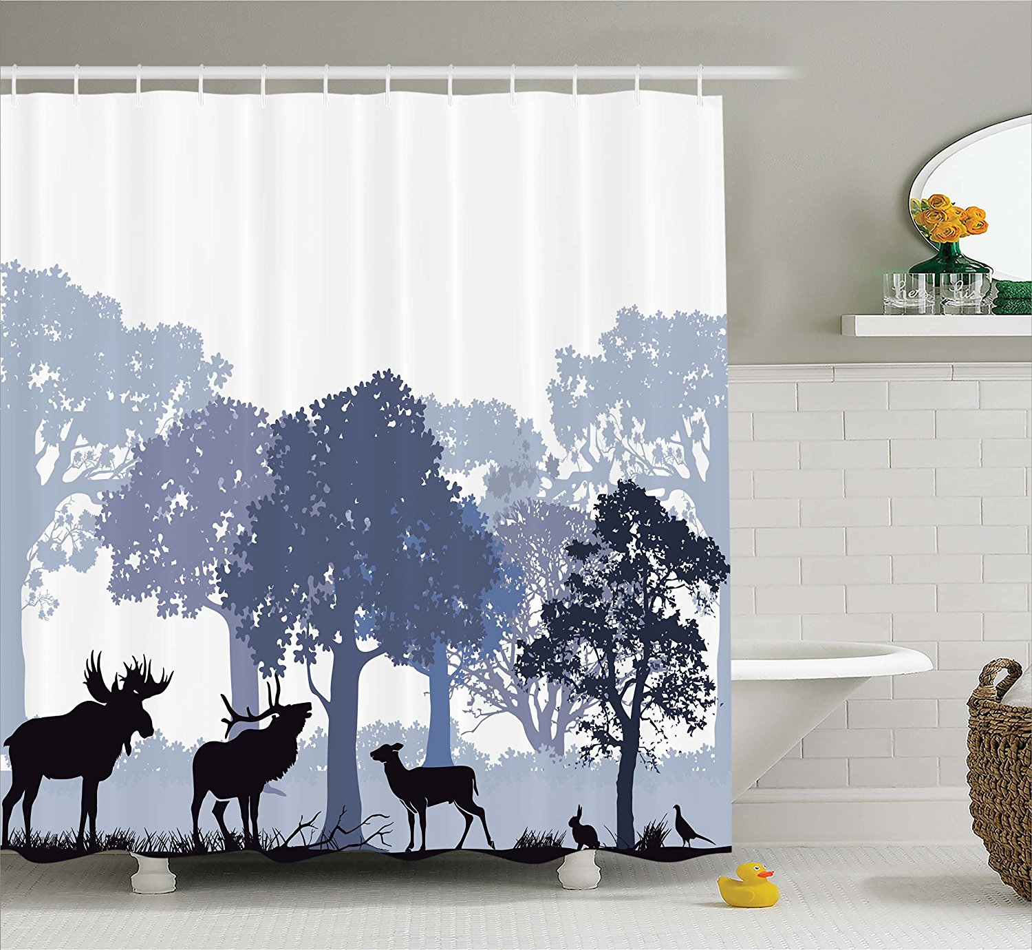 Moose Shower Curtain Set Gray Forest Design Abstract Woods North American Wild Animals Deer Hare Elk