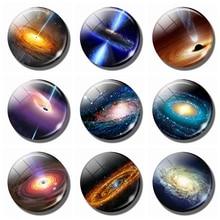 A Black Hole Jet Glass Dome Refrigerator Magnetic Holder Nebula Universe 30 MM Round Sticker Fridge Memo Message
