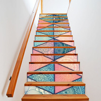 3d Unique Europe Pattern Tile Wall Stairs Stickers Pvc Wall Sticker Removable Waterproof Mural Poster For Stair Room Decals