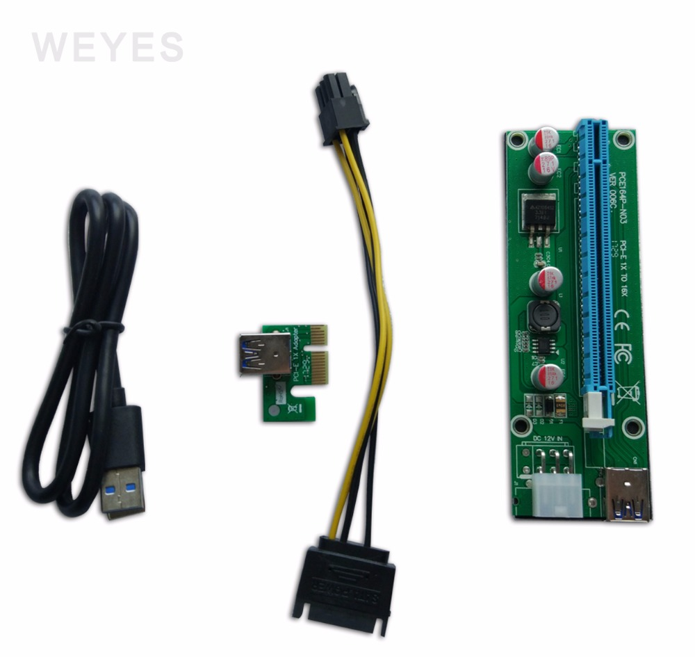WEYES PCI-E PCI E Express 1X to 16X graphics card Riser Extender Card cable Adapter 6 pin psu  to  bitcoin miner pci e to