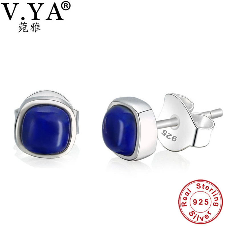 free shipping Lapis lazuli Thai silver Stud earrings 100% pure 925 Sterling Silver earring for women natural stone Jewelry WE465