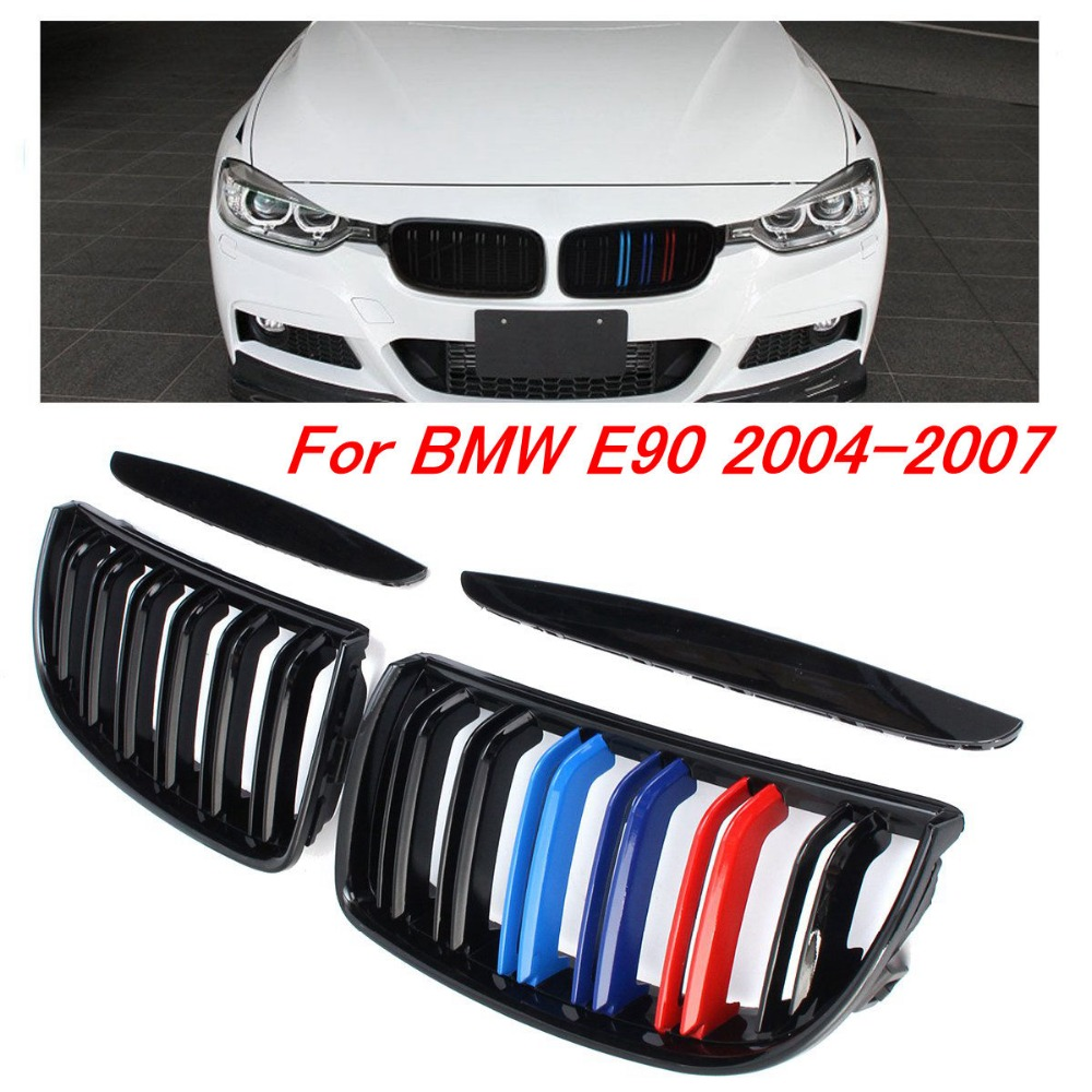 Pair Gloss Matt Black M Color 2 Line Front Kidney Grille Grill Double Slat For BMW E90 E91 3 Series 2004 2005 2006 2007