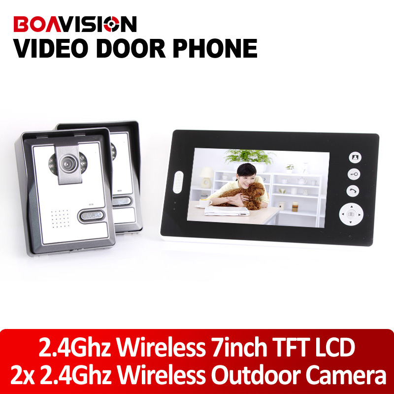 7inch Audio Visual Wireless Video Door Phone Intercom System With 2 Cameras Door Monitoring System 7inch 2 4ghz wireless intercom unlock video door phone with 3camera