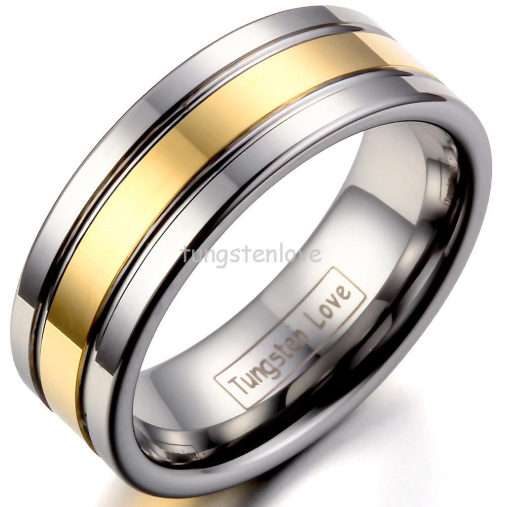Kualitas tinggi Perak Emas Tungsten Carbide Rings Mens Engagement Rings Partai Wedding Band Untuk Jewrlry Hadiah anillos hombre