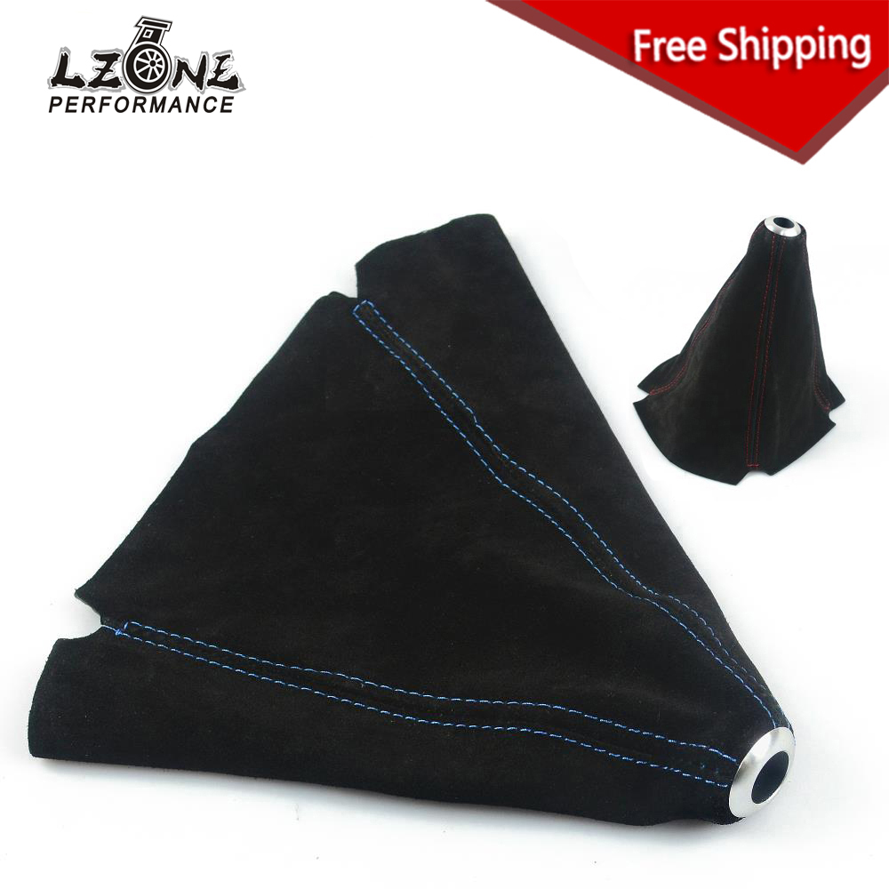 LZONE RACING - FREE SHIPPING Suede leather Red/Blue Stitch Shift Knob Shifter Boot Cover MT/AT JR-SBC11