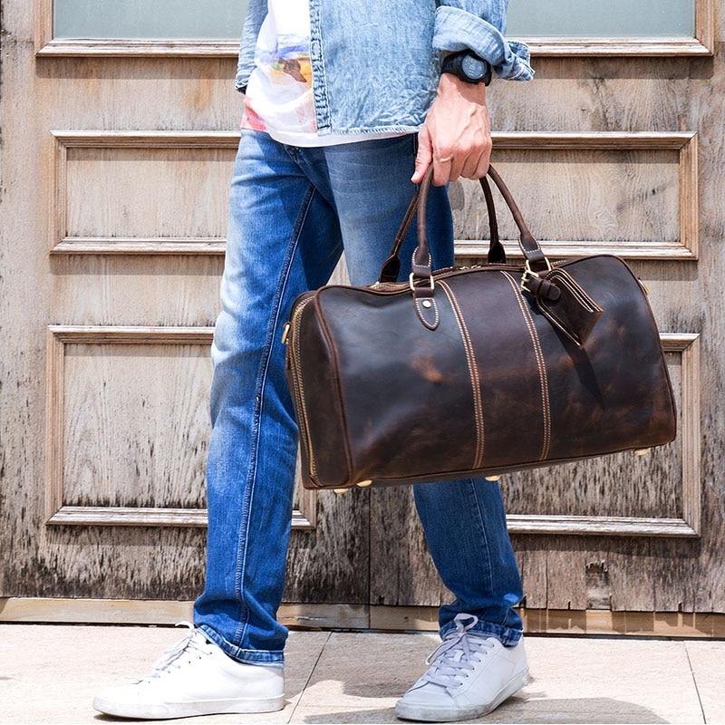 크레이지 호스 정품 가죽 여행 가방 남자 여자 소 가죽 여행 더플 빈티지 짐 주말 더플 큰 어깨 가방-에서여행 가방부터 수화물 & 가방 의  그룹 1