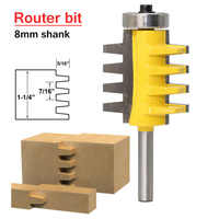 8-handle Engraving machine milling cutter 8mm Shank Rail Reversible Finger Joint Glue Router Bit Cone Tenon Woodwork Cutter