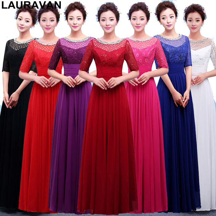 modest black blue red purple lace chiffon   bridesmaid   a line   dresses   to party long formal   dresses   sleeves   bridesmaids     dress