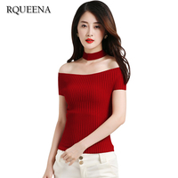 RQUEENA 2017 New Spring Summer Women T Shirts Slash Neck Knitted Tops Short Sleeve Striped Pullover