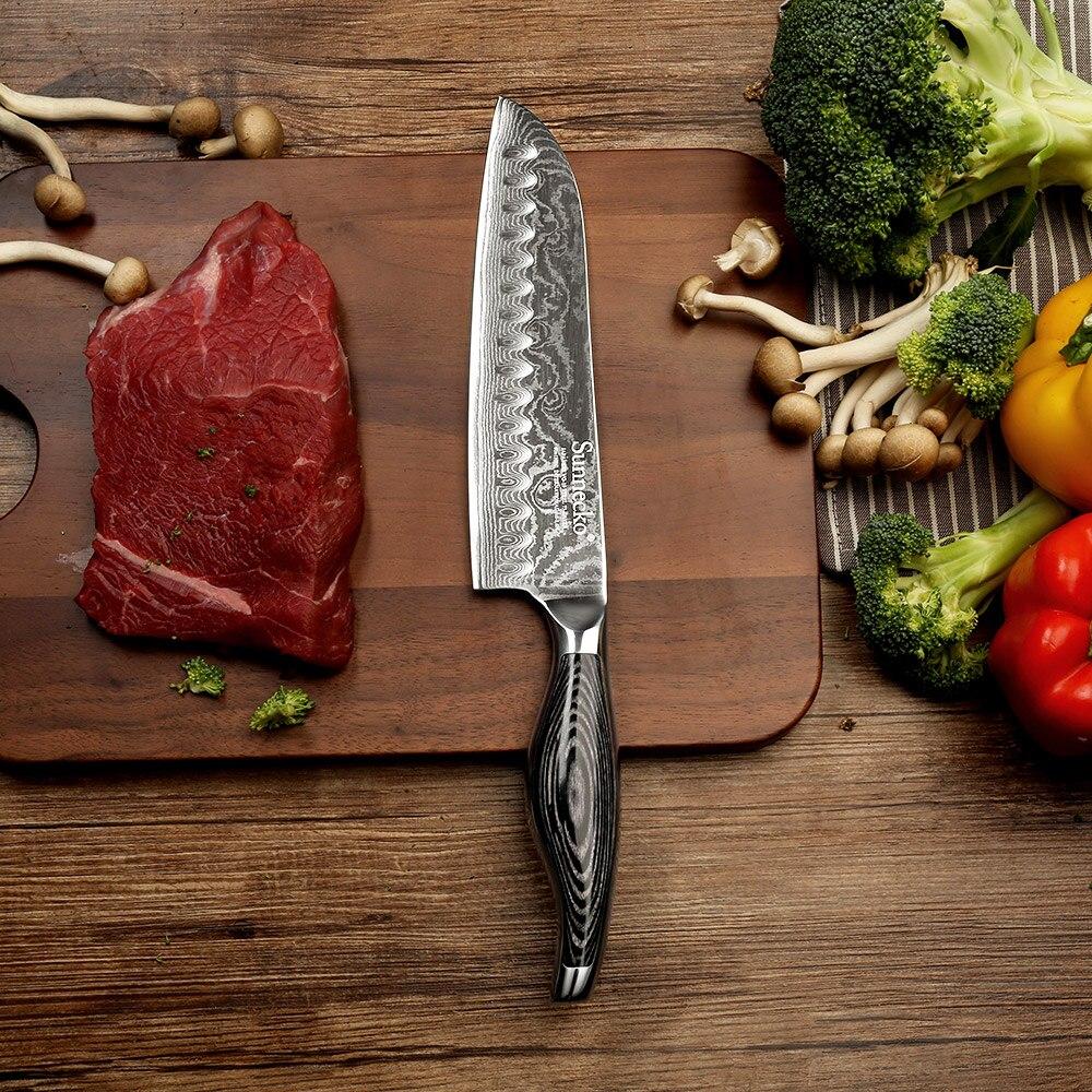 SUNNECKO 7 pouces Santoku Couteau de Cuisine Japonais VG10 Damas Acier Rasoir Lame Tranchante Couteaux Pakka Manche En Bois Viande Cutter
