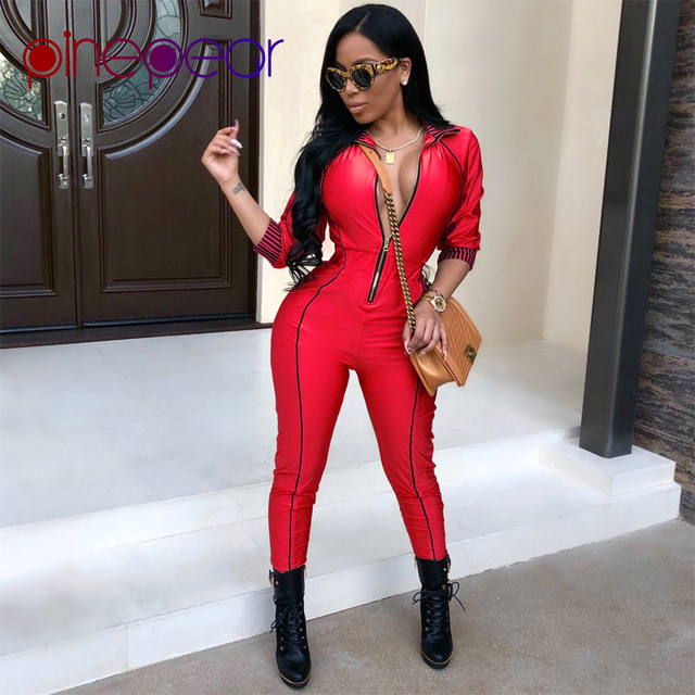 4a406062eb6 PinePear Long Bodycon Autumn Winter Womens Jumpsuits Rompers Sexy Skinny Red  Gold Long Sleeve Zipper Jumpsuit for Women 2019 NEW